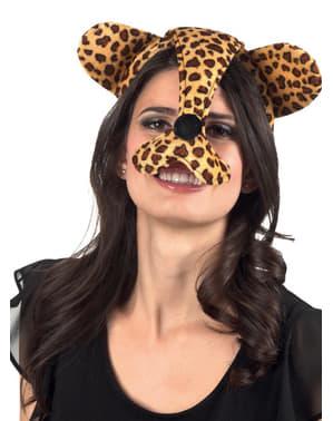 Orelhas e nariz de chita para mulher