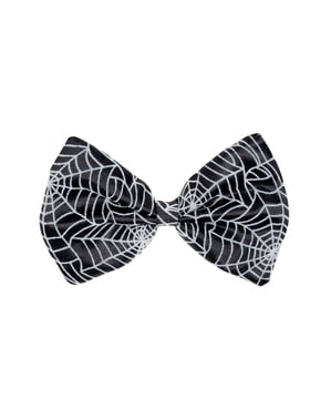 Adult's Black Bowtie with Cobwebs