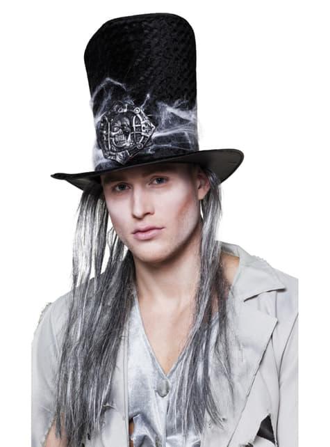 Chapeau avec cheveux fossoyeur sinistre homme