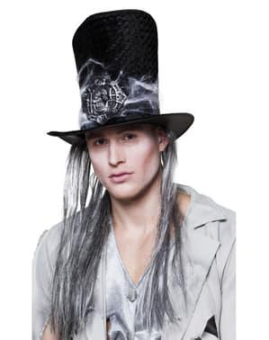 Złowieszczy kapelusz z włosami grabaż męski