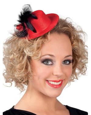 Mini chapeau jeune des années 20 rouge femme