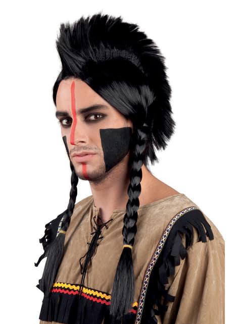 Peruka indianin z warkoczami dla dorosłych
