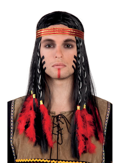 Adult's Indian Wig with Feathers and Ribbon
