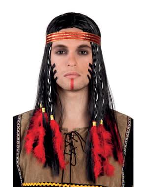 Indiaan pruik met veren en haarband voor volwassenen