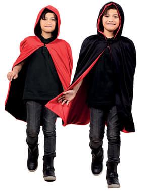 Çocuğun Tersinir Kırmızı / Siyah Pelerin
