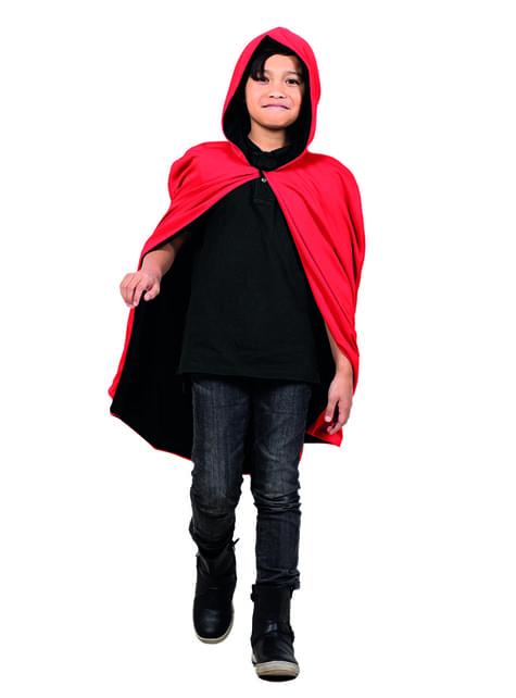 Omkeerbare cape rood/zwart voor jongens