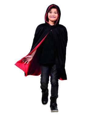 Cape réversible rouge/ noir enfant