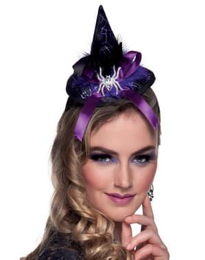 Mini chapéu de bruxinha roxo para mulher