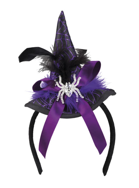 Mini sombrero de brujita morado para mujer