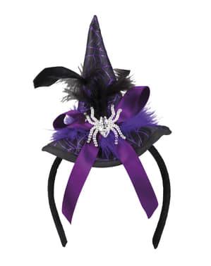 Fioletowy mini kapelusz czarownicy damski