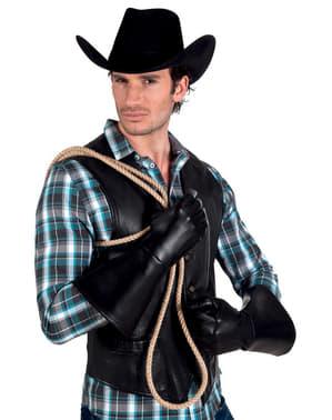 Luvas de vaqueiro pretas para adulto