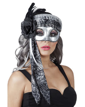 Srebrna maska z pajęczyną damska