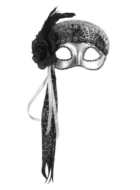 Antifaz plateado con tela de araña para mujer