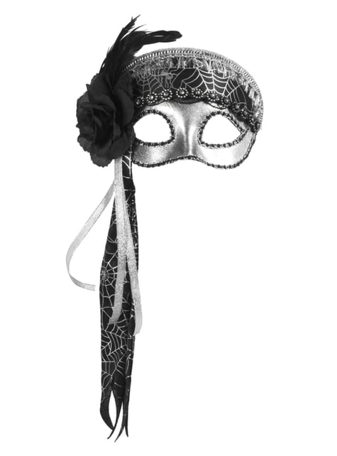 Antifaz plateado con tela de araña para mujer - para tu disfraz