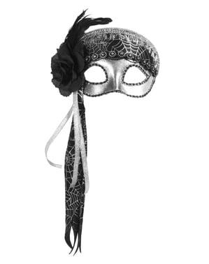 Oogmasker zilverkleurig spinnenweb voor vrouw