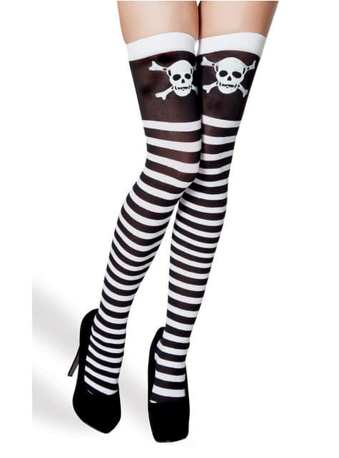 Ženske crno-bijele prugaste čarape s lubanjama