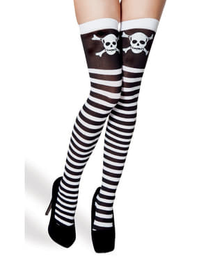 Woman's Black and White Striped Stockings with Skulls