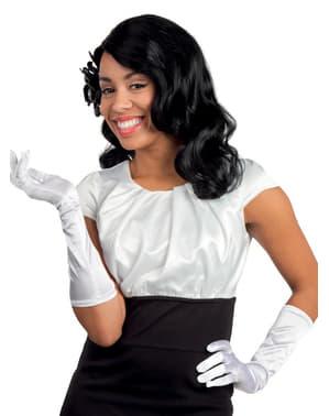 Białe eleganckie rękawiczki damskie