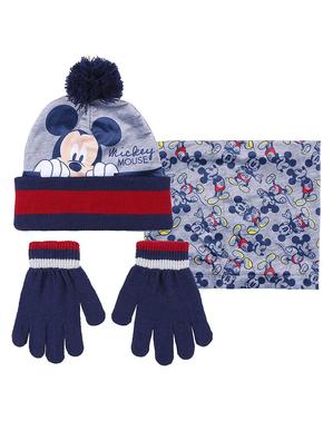 Set pălărie, eșarfă și mănuși Mickey pentru băieți