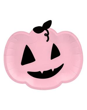 6 Pink Pumpkin Plates (25 x 22cm)