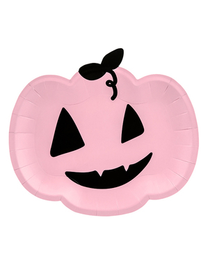 6 Roze Pompoen Borden (25 x 22cm)