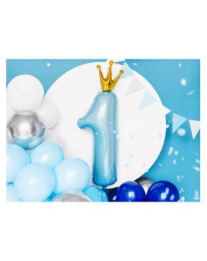 Ballon aluminium premier anniversaire bleu