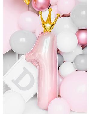 Ballon aluminium premier anniversaire rose