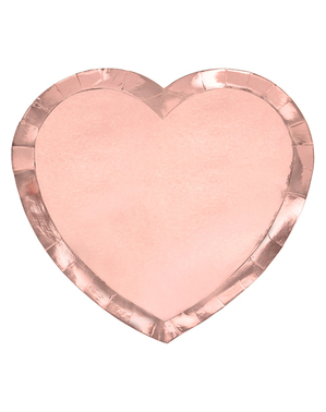 6 Rose Gold Heart Plates (21x19cm)