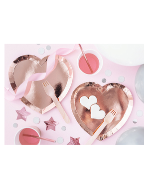 6 platos de corazón oro rosa (21x19cm)