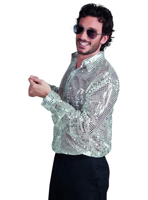Ασημένιο πουκάμισο ανδρικής ντίσκο
