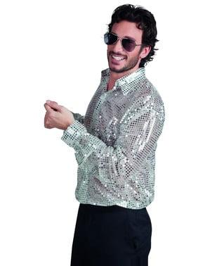 Camisa disco plateada años 70 para hombre