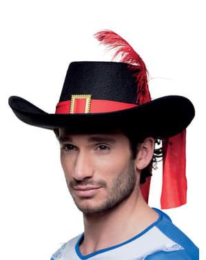 Chapéu de mosqueteiro com pena para adulto