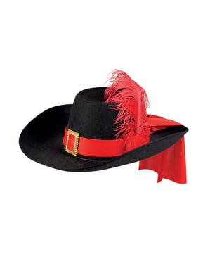Sombrero de mosquetero con pluma para adulto