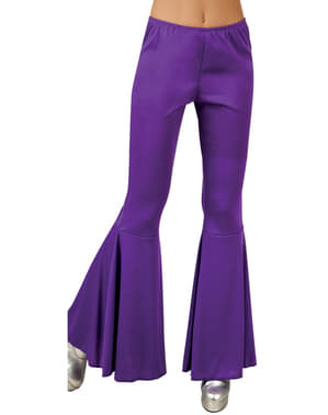Pantalones de campana morados para mujer