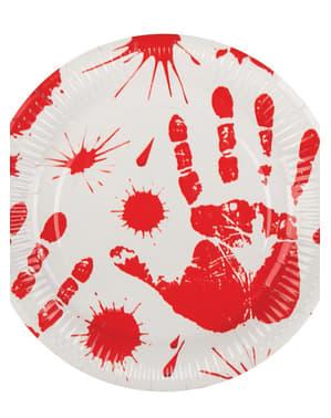 סט 6 צלחות מוכתמות בדם