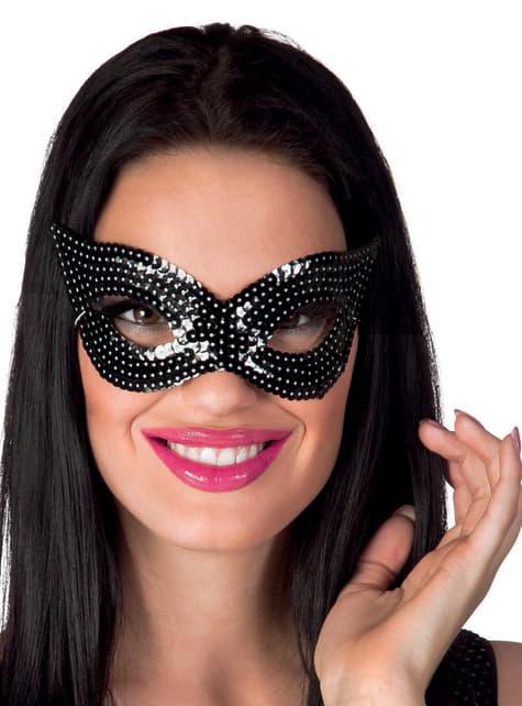 Antifaz negro de lentejuelas para mujer