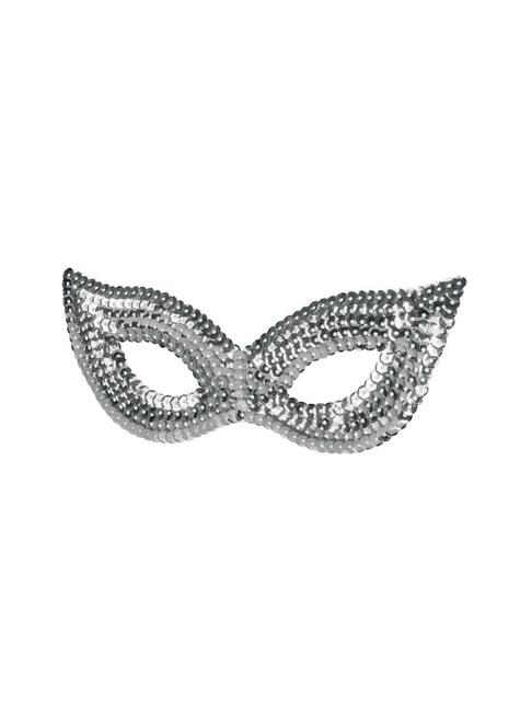Máscara prateada de lantejoulas para mulher