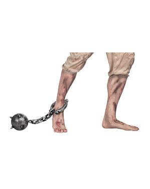 Vězeňská koule na nohu s řetězem