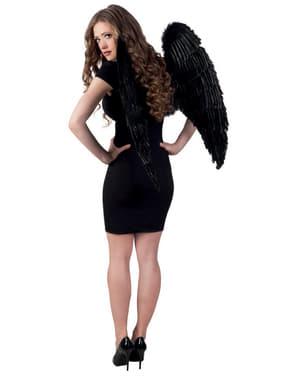 Asas pretas de anjo caído para adulto