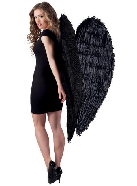 Maxi asas pretas de anjo caído para adulto