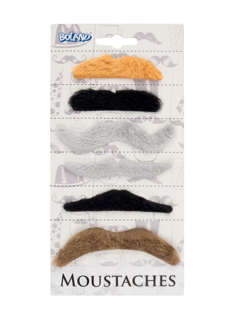 Set de 6 bigotes adhesivos multicolor para adulto