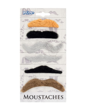 Adult's Set of 6 Stick-On Multi-coloured Moustaches