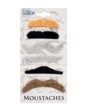 Комплект за 6 възрастни с многоцветни мустаци