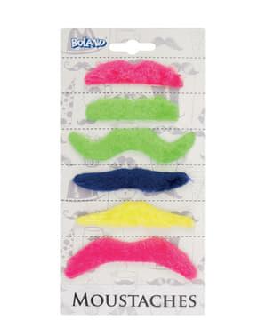 6-teiliges Schnurrbärte Set zum Ankleben für Erwachsene