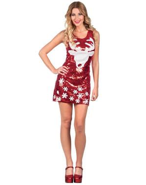 Rochie de Crăciun cu ren pentru femeie