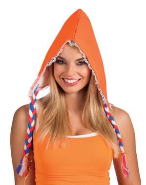 Gorro de holandesa cor de laranja para mulher