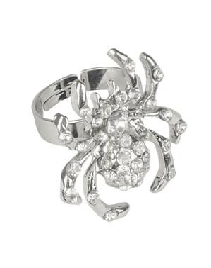 Ring met glinsterende spin voor vrouw