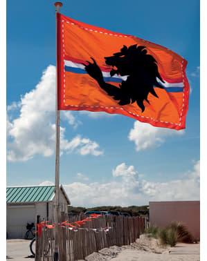 Mega vlag in oranje met zwarte leeuw en Nederlandse vlag