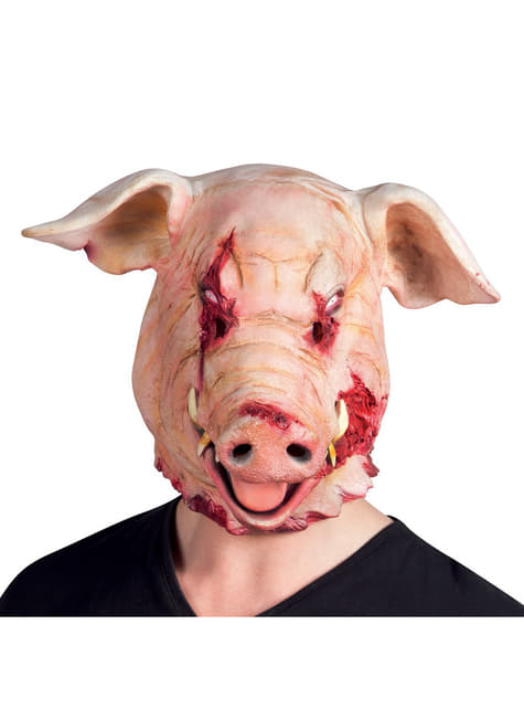 Máscara de porco com sangue para adulto