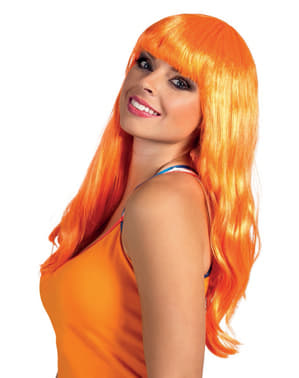 Lange oranje pruik